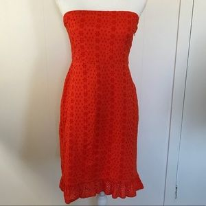 Old navy red eyelet strapless dress ruffle sz 4